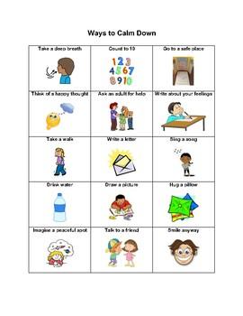 How to calm down chart Autism Visual Aid Dementia SEN ASD  A4 Laminated