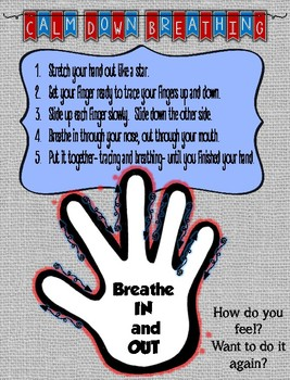 Calm Down Breathing Activity- Mindfulness, Emotions, Behavior