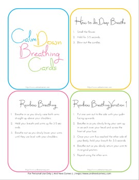 Calm Down Breathing Cards