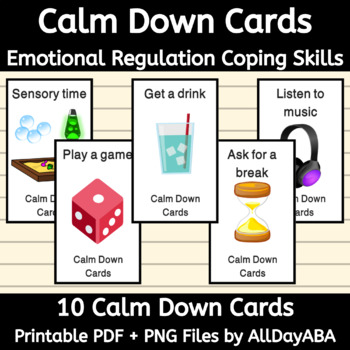 Calm Down Cards - ABA & Special Education - by AllDayABA
