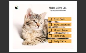 Calm Down Cat Kit | Self Regulation, Classroom Management, Kindergarten, Pre-K