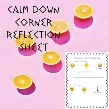 Calm Down Corner Reflection Sheet