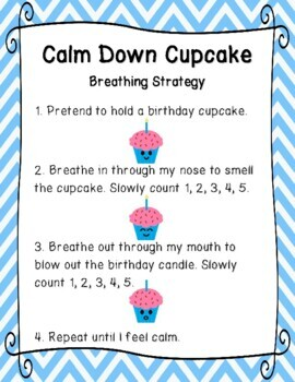 Calm Down Cupcake Birthday Candle Breathing Strategy Posters & Student Cards