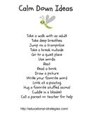 Calm Down Ideas List