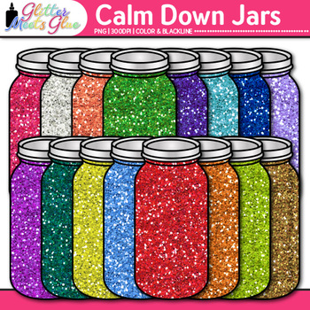 Calm Down Jars Clip Art | Mindfulness and Sensory Bin Graphics for OT Resources