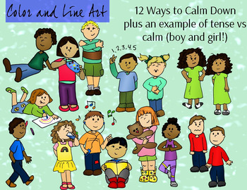 Calm Down Kids Clipart - Color and Line Art 32 pc set