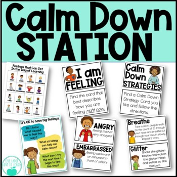 Calm Down Station - Feeling Cards, Strategy Cards, Reflection Forms