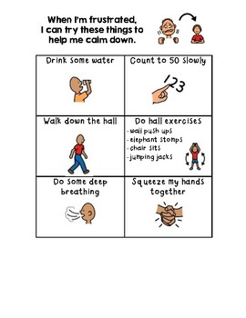 Calm Down Strategies Chart