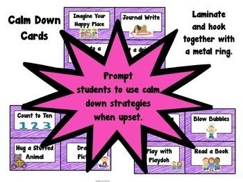 Character Education Calm Down Strategies Unit Plan