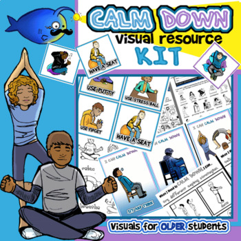 Calm Down Visuals Kit BUNDLE for OLDER Students! Cards, Posters,Handouts & MORE!