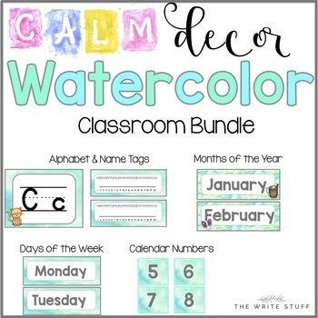 Calm Watercolor Classroom Decor (Blue and Green)