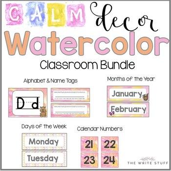Calm Watercolor Classroom Decor (Orange and Pink)