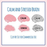 Calm and Stress Brain Mental Health Clip Art for Commercial Use