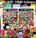Calm down techniques for kids clip art- Super Bundle- 160 items!!