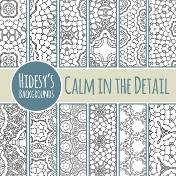 Calm in the Details Adult Level Color in Backgrounds / Digital Papers Clip Art