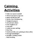 Calming Activities List