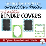 Calming Blue and Green Editable Binder Covers
