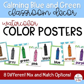 Calming Blue and Green Watercolor Color Posters