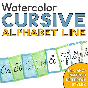 Calming Blue and Green Watercolor Cursive Alphabet Line