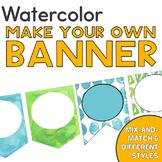 Watercolor Banner   Editable   Calming Blue and Green Decor