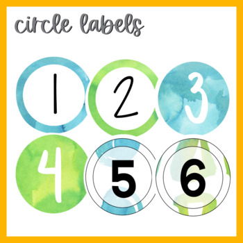 Calming Blue and Green Watercolor Number Labels