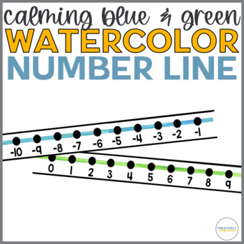 Calming Blue and Green Watercolor Number Line