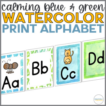 Calming Blue and Green Watercolor Print Alphabet Line