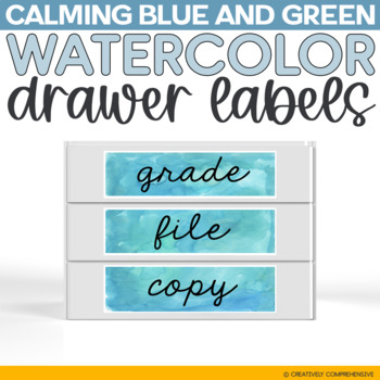 Calming Blue and Green Watercolor Sterilite Drawer Labels FREEBIE