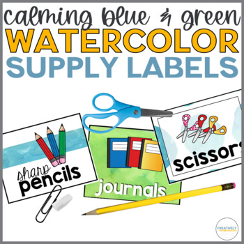 Back to School Calming Blue and Green Watercolor Supply Labels