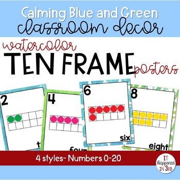 Calming Blue and Green Watercolor Ten Frame Posters