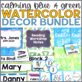Calming Blue and Green Watercolor Decor Bundle