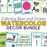 Calming Blue and Green Watercolor Decor Bundle