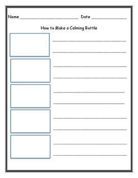 Calming Bottle Writing Templates