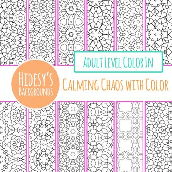 Calming Chaos with Color Adult Level Detailed Coloring In Digital Papers