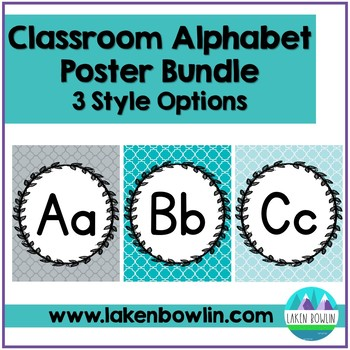 Calming Cool Alphabet Posters Set of 3