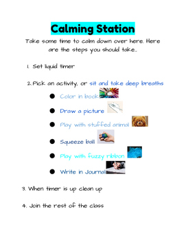 Calming Station Option Poster