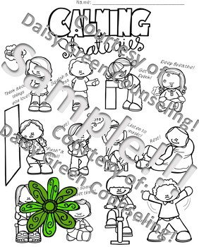 Calming Strategies Poster and Coloring Sheet Activity