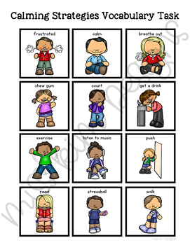 Calming Strategies Vocabulary Folder Game for Special Education