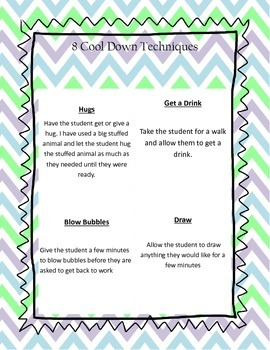 Calming Techniques & Cool Down Cards