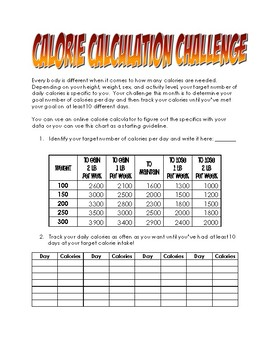 Calorie Calculation Wellness Staff Challenge