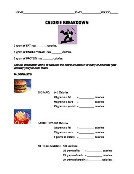 Macronutirents Calorie Calculations Worksheet for  Foods and Nutrition Classes