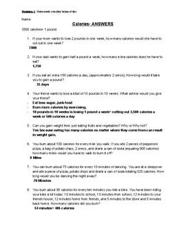 Calories Math Word Problem