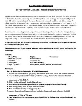 Calorimetry Experiment: Lab Sheet