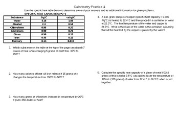 Calorimetry Practice Problem Sets with Increasing Difficulty Level