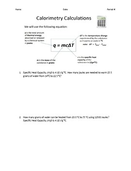 Calorimetry Thermal Energy Calculation Word Problems