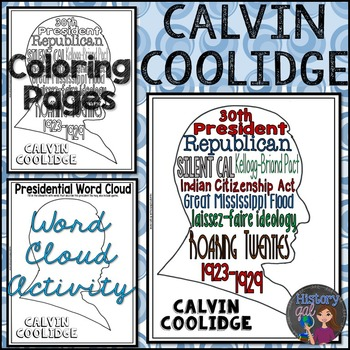 Calvin Coolidge Coloring Page and Word Cloud Activity