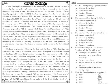 Calvin Coolidge Differentiated Reading Passages & Questions