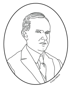 Calvin Coolidge (30th President) Clip Art, Coloring Page or Mini Poster