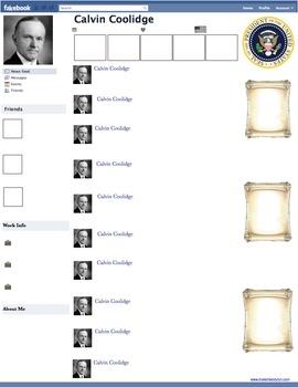 Calvin Coolidge Presidential Fakebook Template
