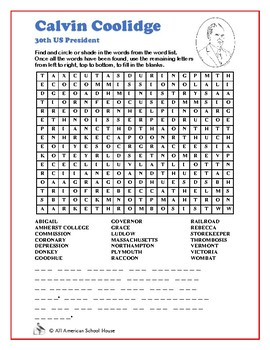 Calvin Coolidge - Presidents Word Search and Fill in the Blanks